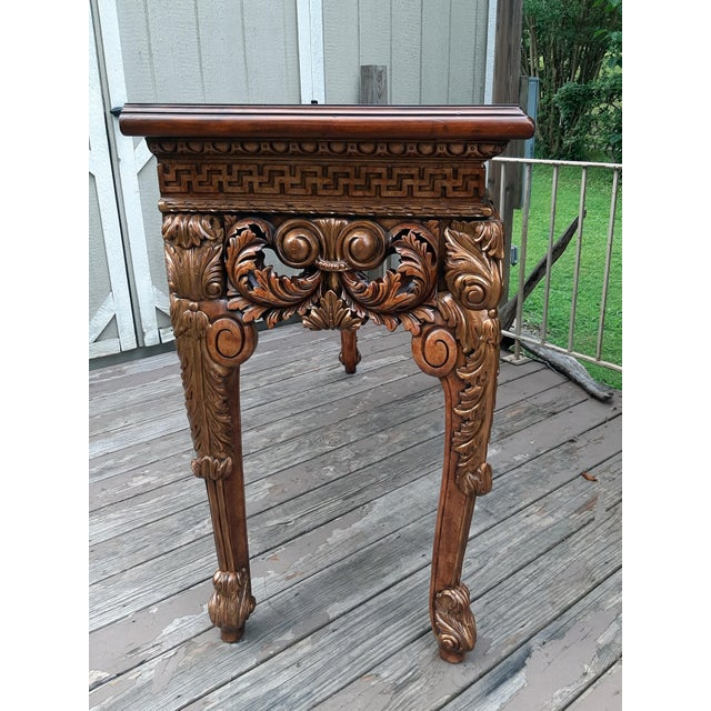 Theodore Alexander Vintage Theodore Alexander Althorp Carved Wood Gilded Console Table For Sale - Image 4 of 13