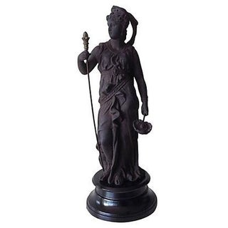 Cast Patented Metal Statue of Athena For Sale