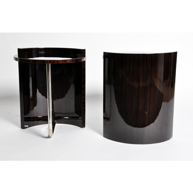 Contemporary Round Mid-Century Style Tables - a Pair For Sale - Image 4 of 11