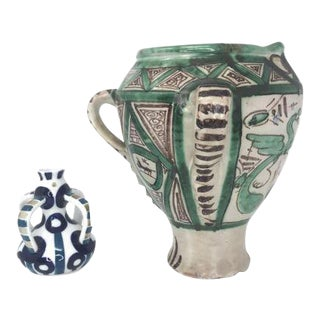 Spanish Pottery Pieces - Set of 2 For Sale