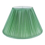 Image of Vintage Green Pleated Fabric Lined Coolie Style Lamp Shade For Sale