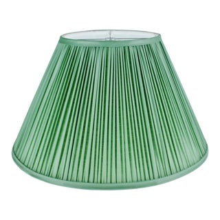 Vintage Green Pleated Fabric Lined Coolie Style Lamp Shade For Sale