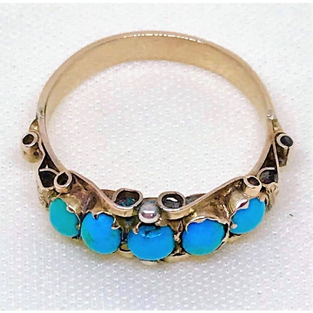 Georgian Antique 15k Gold and Turquoise Ring For Sale - Image 3 of 7