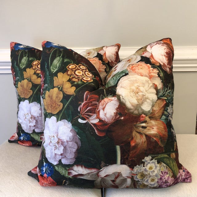"Textile Bold Floral Printed Velvet 22"" Pillows-A Pair For Sale - Image 7 of 7"