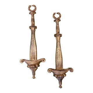 Late 20th Century Gold Plate Holders - a Pair For Sale