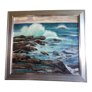 1930s Seascape Oil Painting by James Merriam, Framed For Sale