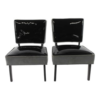 1940s Vintage Hollywood Regency Slipper Chairs - a Pair For Sale
