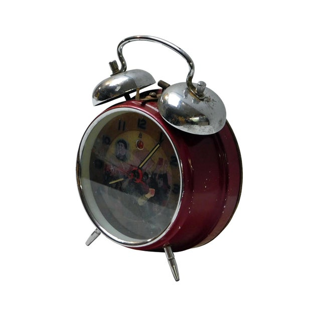 Asian Old Chinese Round Shape Table Clock With Chairman Mao Painting For Sale - Image 3 of 5