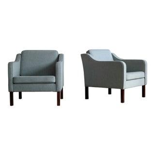 Børge Mogensen Model 2421 Style Danish Lounge Chairs in Cornflower Blue Wool For Sale