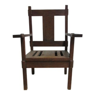 Antique Mission Tiger Oak Child's Lounge Chair