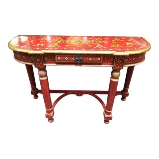Vintage Asian Red Hand Painted Console Table