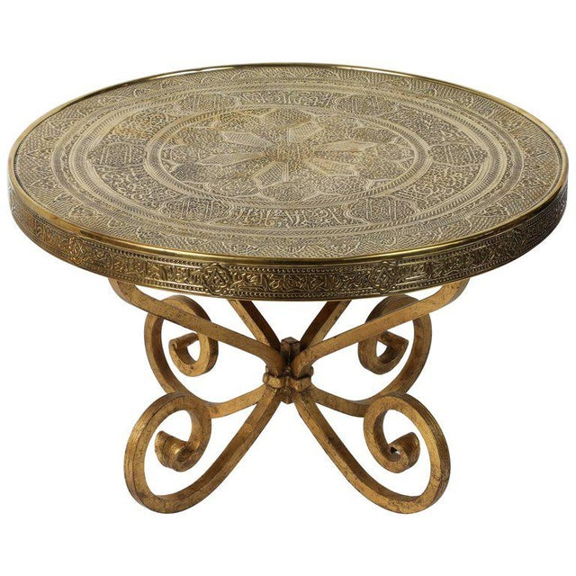 Gold Middle Eastern Syrian Antique Brass Tray Table with Gilt Iron Stand For Sale - Image 8 of 8