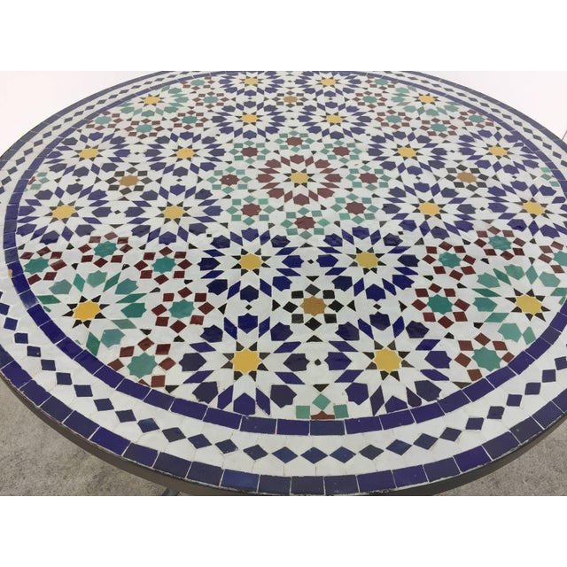 Moroccan Outdoor Mosaic Tile Table From Fez in Traditional Moorish Design For Sale - Image 4 of 9