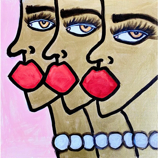 Cubism Golden Ladies Original Painting *Price Is Firm* For Sale - Image 3 of 3