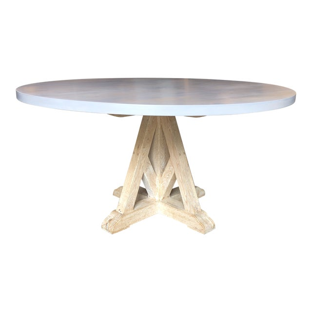Contemporary Round Pedestal Dining Table For Sale