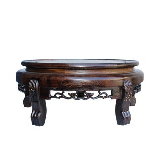 """Chinese Brown Wood Round Table Top Stand Display Easel 10.75"""" For Sale"""
