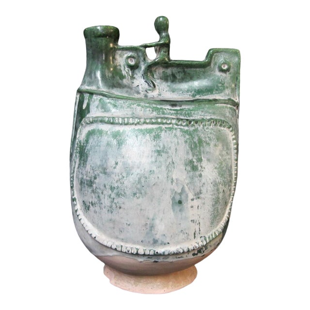 Han Dynasty Style Chinese Green Sancai Terra Cotta Olla Water Pot Child Design For Sale