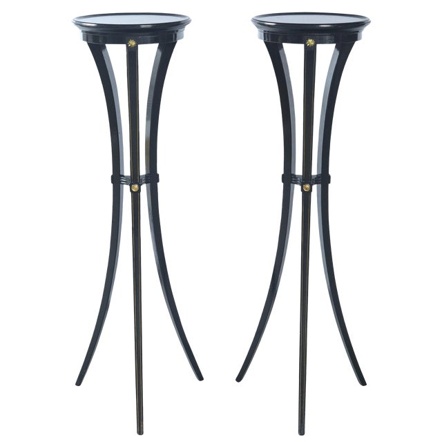 Gold Black Torchere Plant Stands - a Pair For Sale - Image 8 of 9