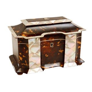 19th Century Tortoise Shell Tea Caddy with Mother of Pearl Inlay For Sale