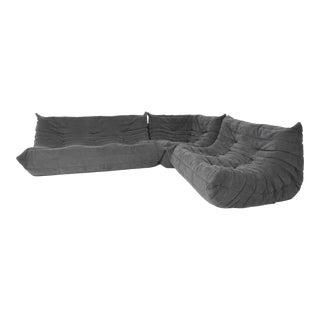 Ligne Roset Togo Sofa in Grey Suede by Michel Ducaroy