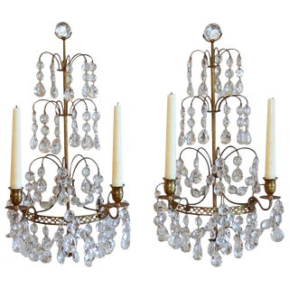 1920s Swedish Gustavian Style Crystal and Bronze Candle Wall Sconces - a Pair