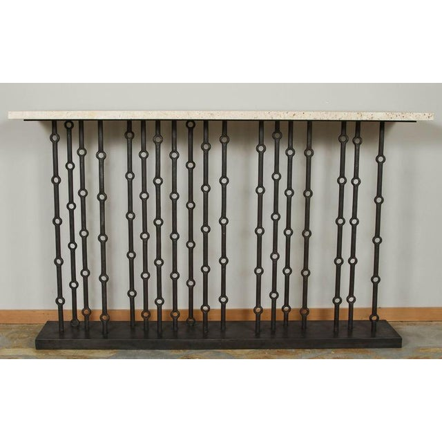 Mid-Century Modern Paul Marra Iron Console With Stone Top For Sale - Image 3 of 7