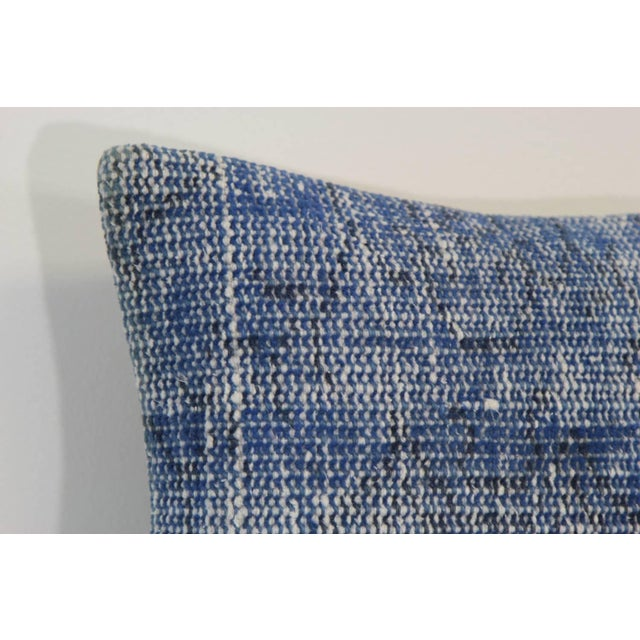 Vintage Blue Overdyed Rug Pillowcase - Turkish Hand Knotted Pillow For Sale - Image 4 of 4