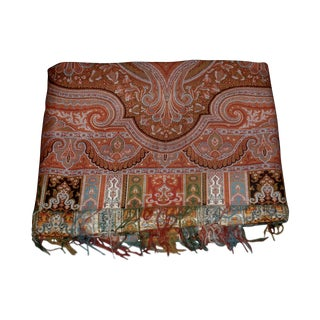 Large Antique Scottish Paisley Throw For Sale