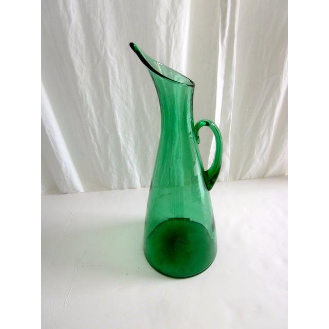 Modernist Green Blenko Vase Pitcher - Image 2 of 6