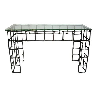 Vintage Rail Road Spike Console With Glass Top For Sale