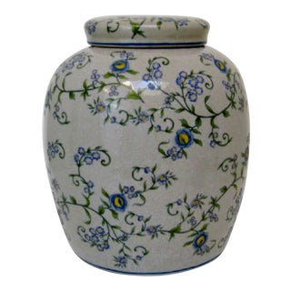 Gray Floral Ginger Jar For Sale