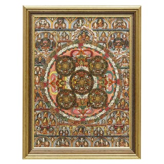 1960s Vintage Framed Tibetan Buddhist Mandala Thangka Painting For Sale