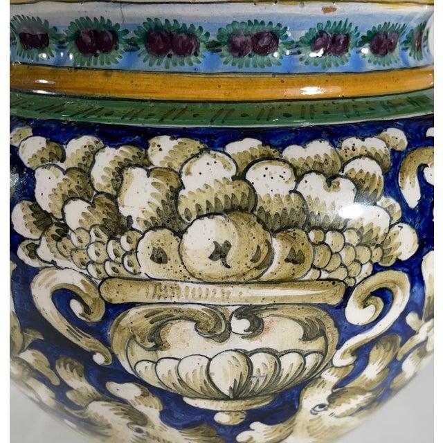 Italian Vintage Italian Majolica Two-Handled Urn For Sale - Image 3 of 12