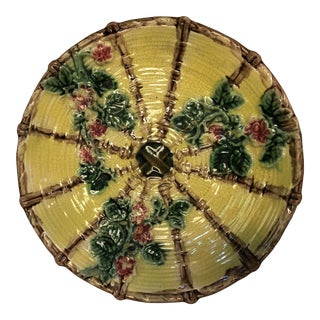 English Majolica Yellow and Green with Pink Flowers Plate For Sale