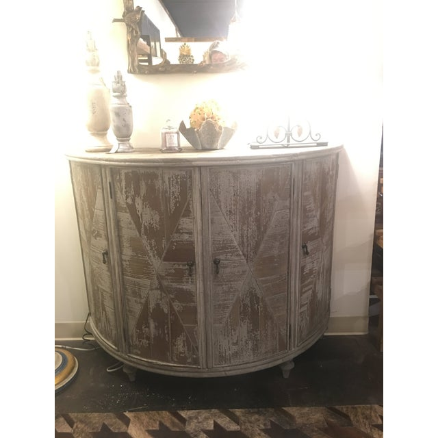 Distressed Grey Demi-Lune Cabinet For Sale - Image 10 of 12