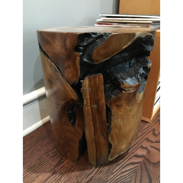 Boho Chic Natural Teak Root Wood Side Table For Sale - Image 4 of 8