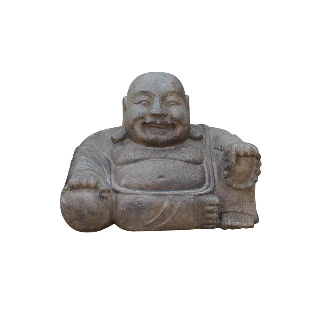 Chinese Gray Stone Carved Small Sitting Happy Laughing Buddha Statue For Sale