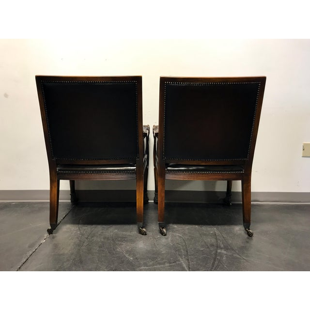 Theodore Alexander Leather Lion Head Chairs - A Pair - Image 6 of 11