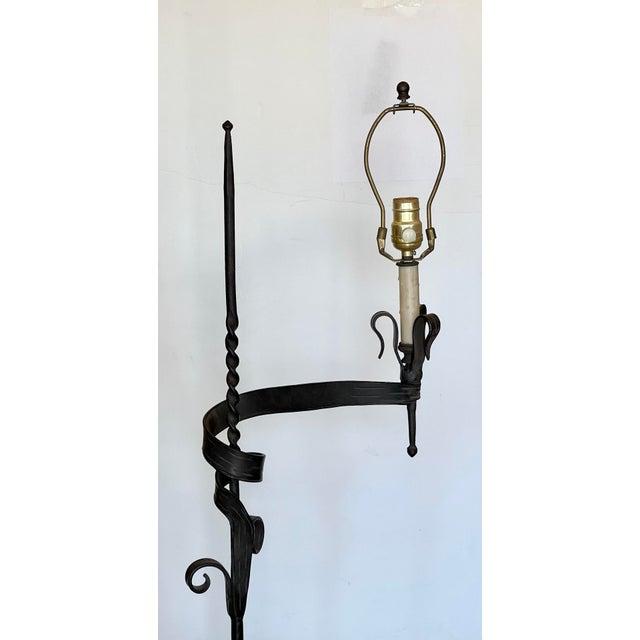 Paul Ferrante Spanish Colonial Wrought Iron Floor Lamp