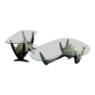 Adrian Pearsall Style Coffee Table and Side Table With Custom Planters For Sale