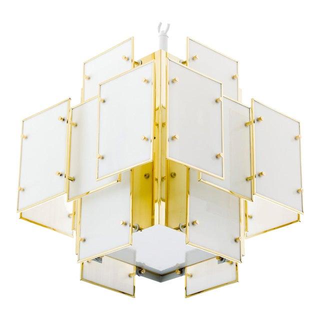 Geometric Milk Glass Panel Chandelier For Sale