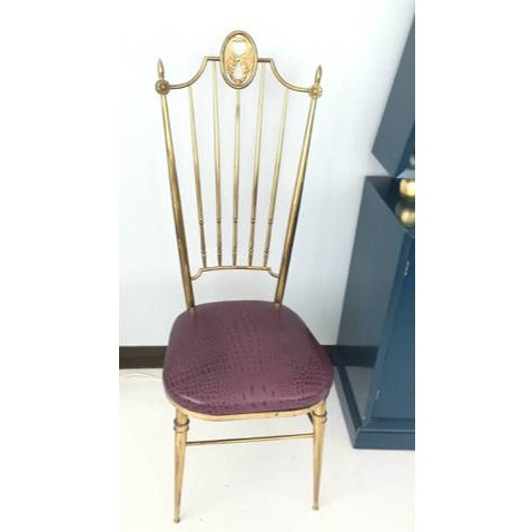Brass & Aubergine Crocodile Leather Seat Chairs - A Pair - Image 2 of 6