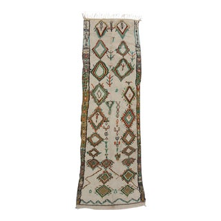 Vintage Azilal Moroccan Carpet Runner with 'Tree of Life' For Sale