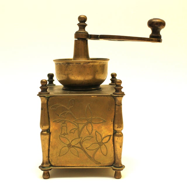 19th Century European Solid Brass Coffee Mill - Image 5 of 8
