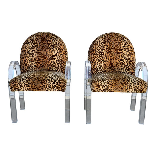 Image of Charles Hollis Jones for Pace Leopard Print Waterfall Chairs - a Pair