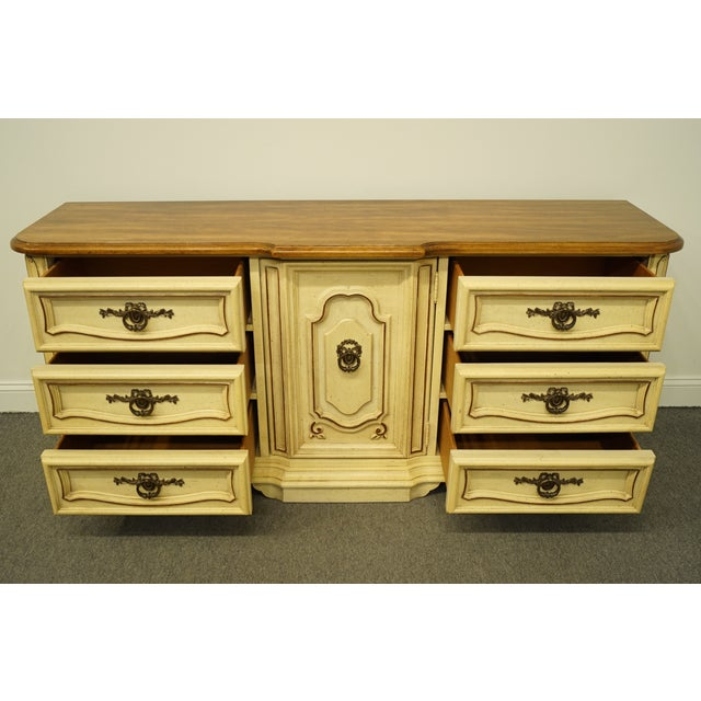 Wood 20th Century French Provincial Stanley Furniture Cream Painted Triple Door Dresser For Sale - Image 7 of 12