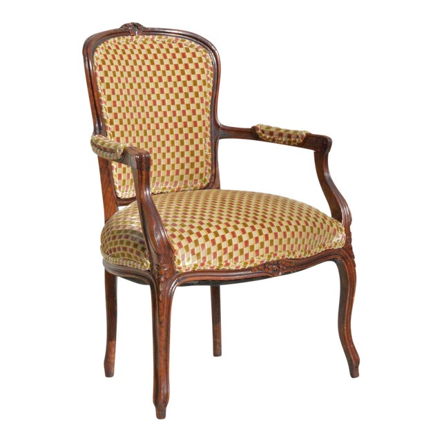 Vintage Louis XV Fauteuil in Cut Velvet For Sale