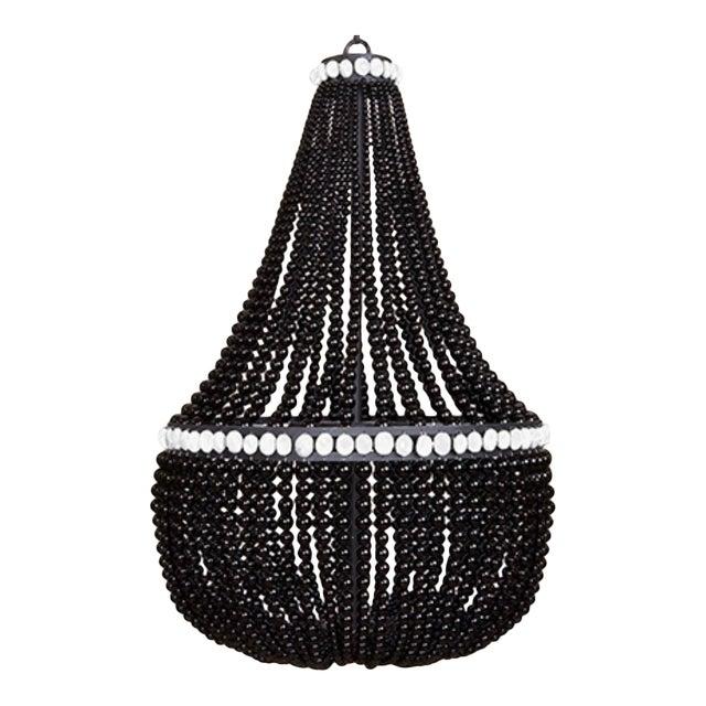 Marjorie Skouras Design Black Onyx/White Accents Empire Chandelier For Sale