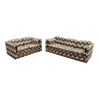 Mid Century Modern Milo Baughman Larsen Style Sofa & Loveseat, 1970s - a Pair For Sale