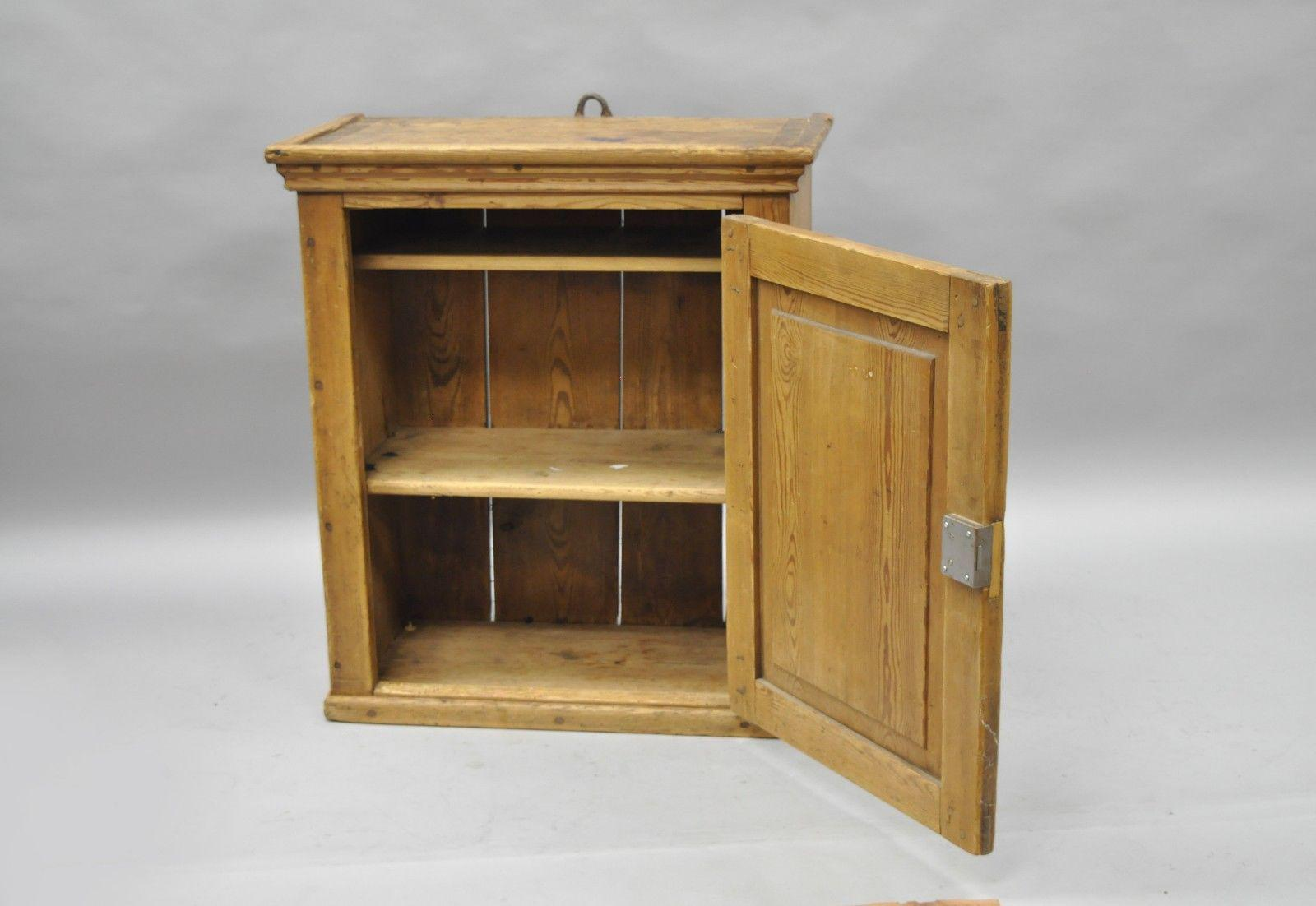 Primitive Antique Primitive Rustic Pine Wood Wall Hanging Cupboard Pantry  Hutch For Sale   Image 3